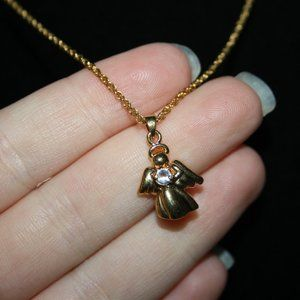 Adorable gold and cz angel necklace Avon
